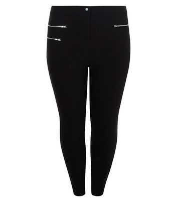 Curves Black Triple Zip Pocket Bengaline Trousers by New Look