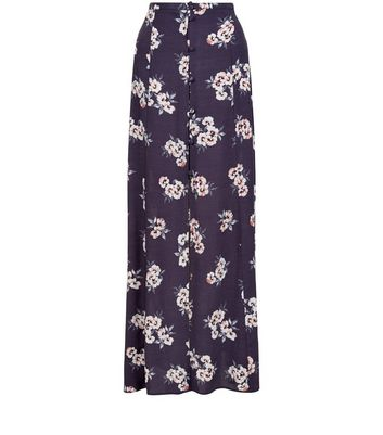 Grey Floral Print Button Front Maxi Skirt