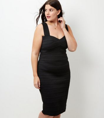 Curves Black Bandage Bodycon Dress