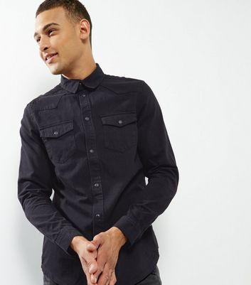 Black Double Pocket Long Sleeve Denim Shirt