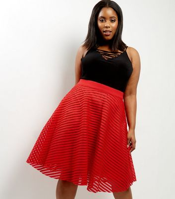 Curves Red Stripe Mesh Midi Skater Skirt