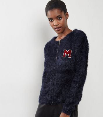 Blue Vanilla Navy Eyelash M Badge Embroidered Cardigan
