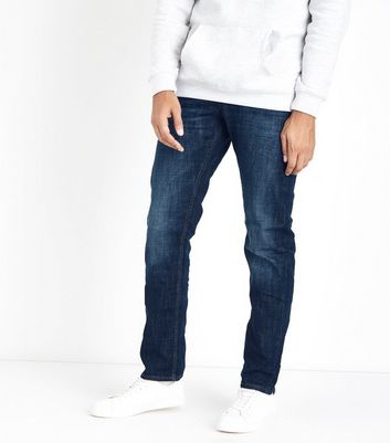 Blue Stone Washed Straight Leg Jeans