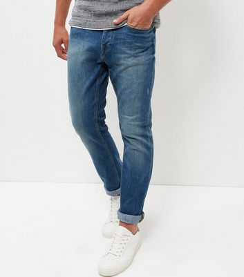 Blue Greencast Washed Slim Jeans