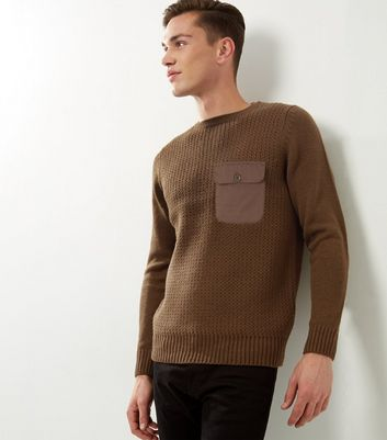 Khaki Ribbed Pocket Front Jumper