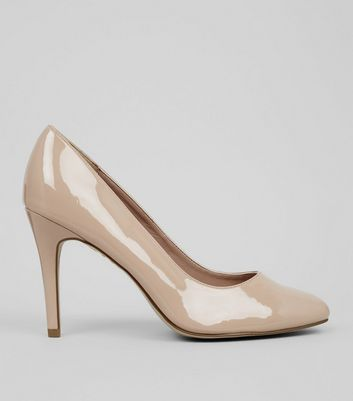 Wide Fit Cream Comfort Suedette Court Shoes