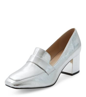 Silver Block Heel Loafers
