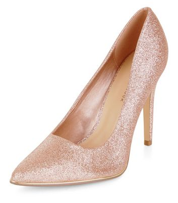 Wide Fit Pink Glitter Pointed Court Shoes