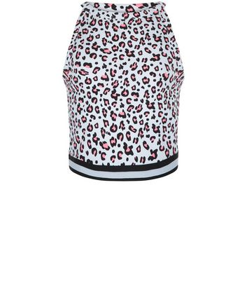 Teens White Leopard Print Contrast Trim Top