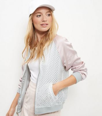 Shell Pink Reversible Lace Bomber Jacket