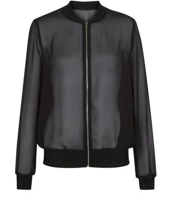 Cameo Rose Black Sheer Bomber Jacket by New Look