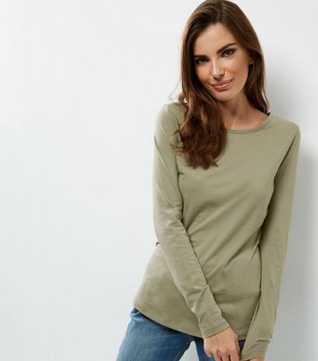 Tall Khaki Long Sleeve Crew Neck T-shirt