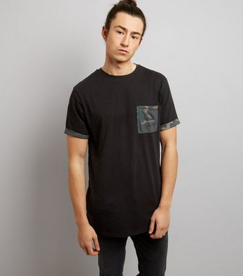 Black Camo Print Pocket And Sleeve T-Shirt