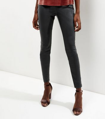 Tall Black High Waisted Leather Look Leggings