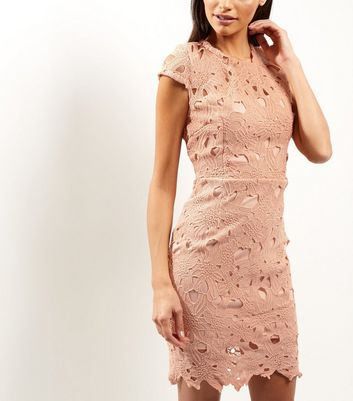 AX Paris Shell Pink Crochet Lace Cap Sleeve Midi Dress