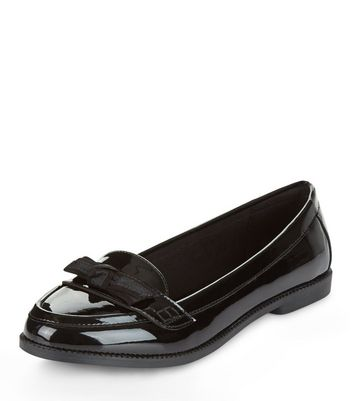 Black Patent Bow Front Loafers