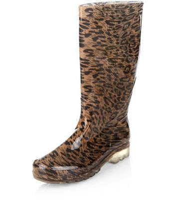 Stone Leopard Print Calf High Wellies