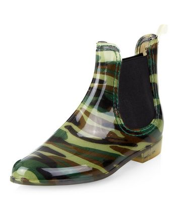 Green Camo Print Chelsea Wellies