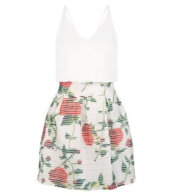 AX Paris White Floral Print V Neck 2 in 1 Dress