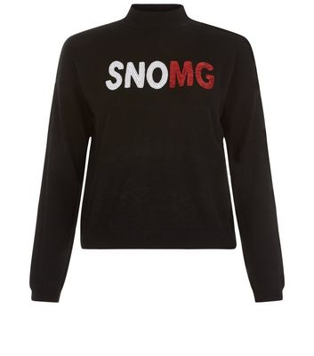 Teens Black SNOMG Christmas Jumper