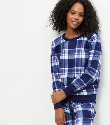 Blue Check Long Sleeve Pyjama Sweater