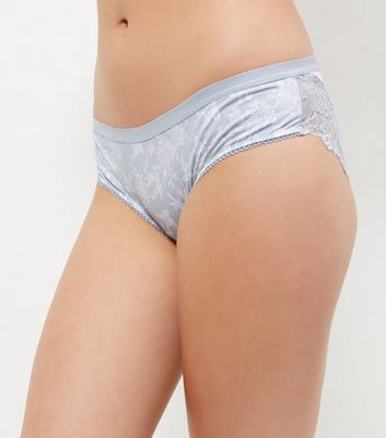 Blue Bird Print Lace Trim Brazilian Briefs