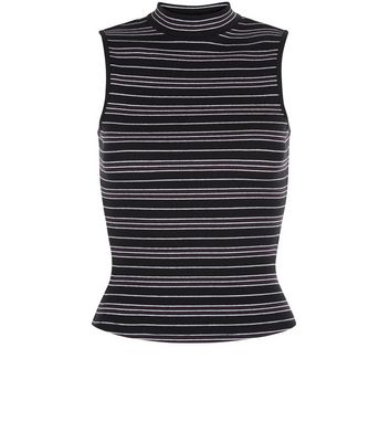 Teens Black Stripe Ribbed Top