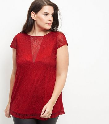 Curves Red Lace V Neck Short Sleeve Top
