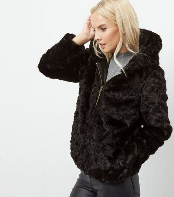Petite Black Faux Fur Hooded Bomber Jacket | New Look