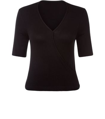 Teens Black Wrap 1/2 Sleeve Top