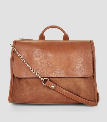 Brown Suedette Front Satchel