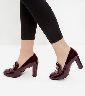 Dark Red Patent Block Heel Loafers
