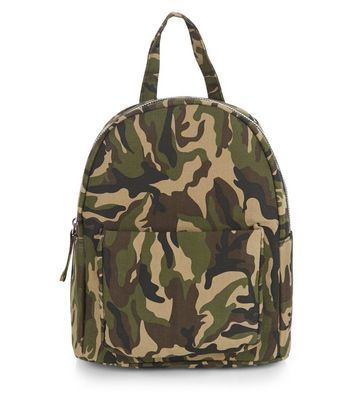 Khaki Camo Print Pocket Front Mini Backpack