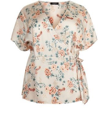 Curves Pink Floral Wrap Front Top