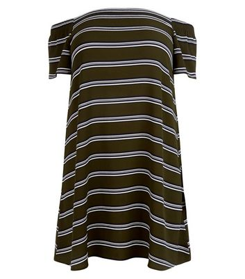 Curves Khaki Stripe Bardot Neck Dress