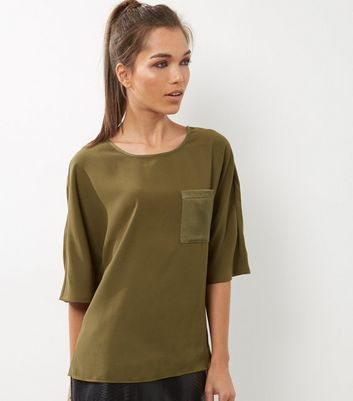 Tall Olive Sateen Single Pocket Front T-Shirt