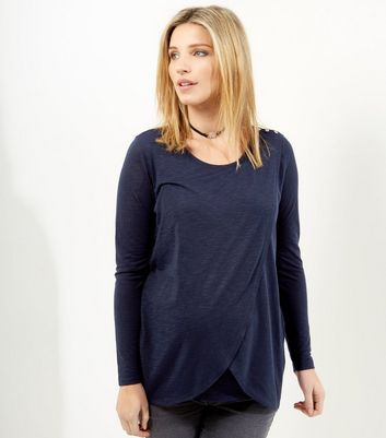 Maternity Navy Wrap Long Sleeve Nursing T-Shirt