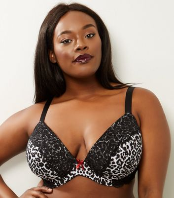 Curves Black Animal Print Lace Trim Plunge Bra