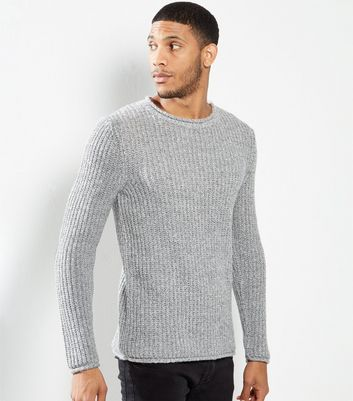 Grey Cast Off Wrapped Yarn Crew Neck Jumper