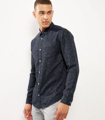 Navy Brushed Linen Blend Single Pocket Shirt