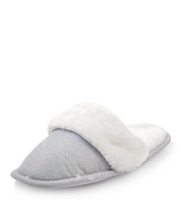Teens Grey Faux Fur Trim Mule Slippers
