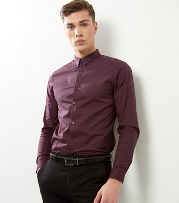 Dark Purple Stretch Slim Fit Long Sleeve Shirt