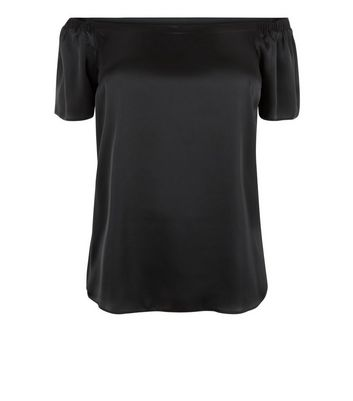 Curves Black Sateen Bardot Neck Top