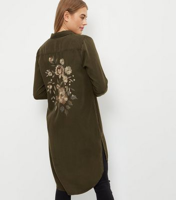 Khaki Floral Embroidered Longline Shirt