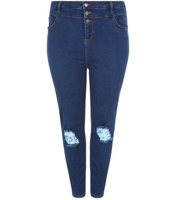 Curves Blue High Waisted Ripped Knee Skinny Jeans