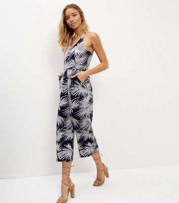 AX Paris Navy Leaf Print Jumpsuit