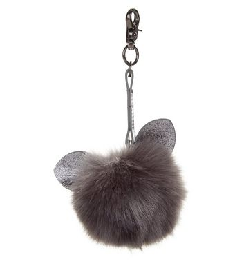 Grey Glitter Cat Faux Fur Pom Pom Keyring
