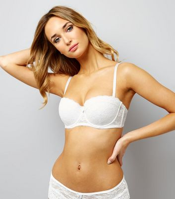 White Lace Strapless Bra