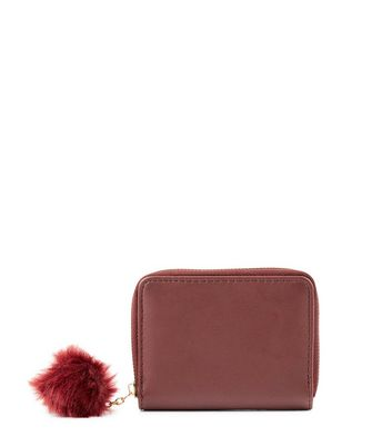 Red Mini Pom Pom Zip Around Purse