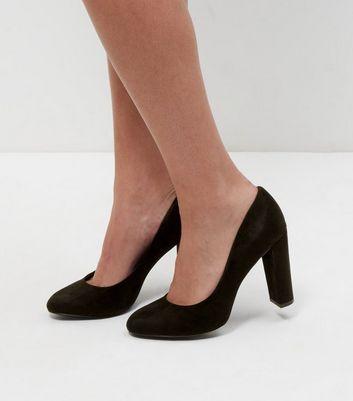 Wide Fit Black Suedette Block Heel Courts | New Look